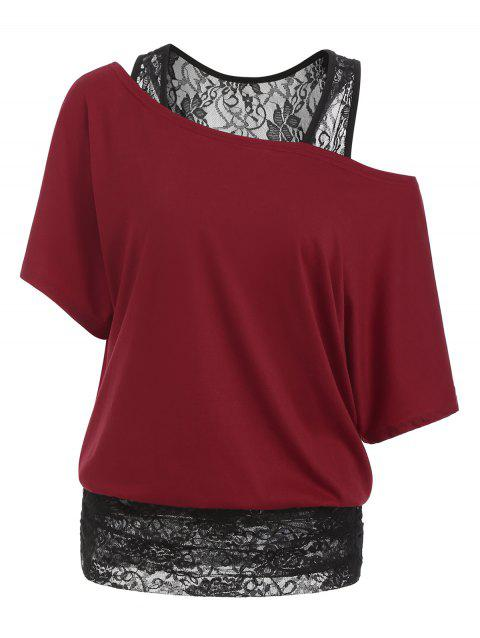 Scoop Neck Half Sleeves Lace Panel Tee - LAVA RED L