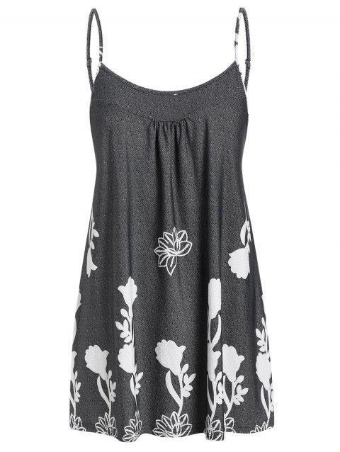 Plus Size Printed Flare Cami Tank Top - CARBON GRAY L