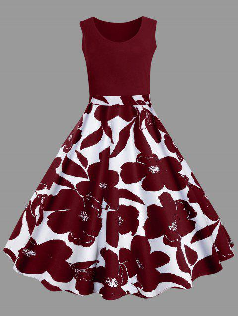 Plus Size Floral Printed Midi Vintage Flare Dress - RED WINE 5XL