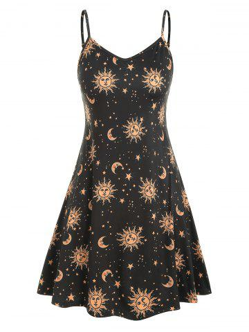 b62baff86e Sun Stars Moon Print Plus Size Trapeze Dress