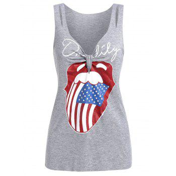 Front Knot American Flag Tank Top