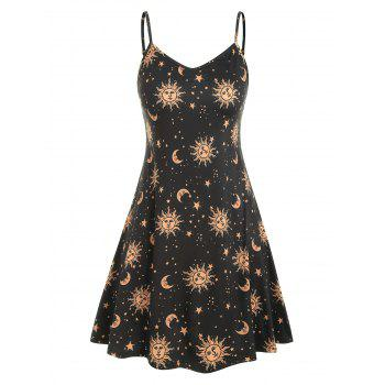 Sun Stars Moon Print Plus Size Trapeze Dress