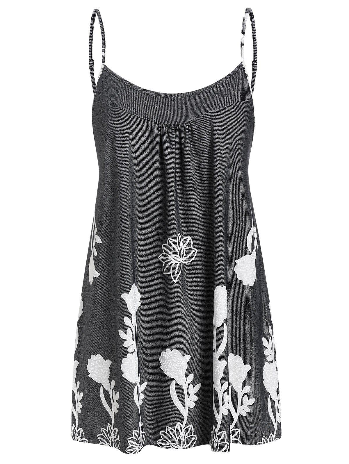 Plus Size Printed Flare Cami Tank Top - CARBON GRAY 1X