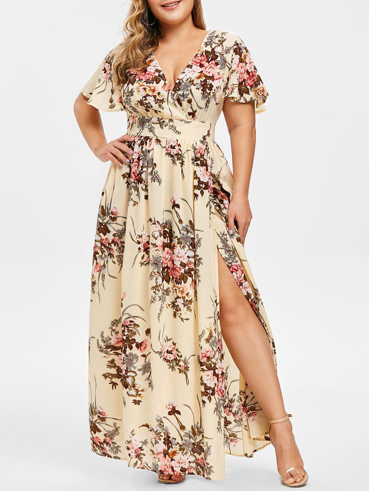 Plus Size Plunging Neck Floral Split Maxi Dress - CORNSILK 2X