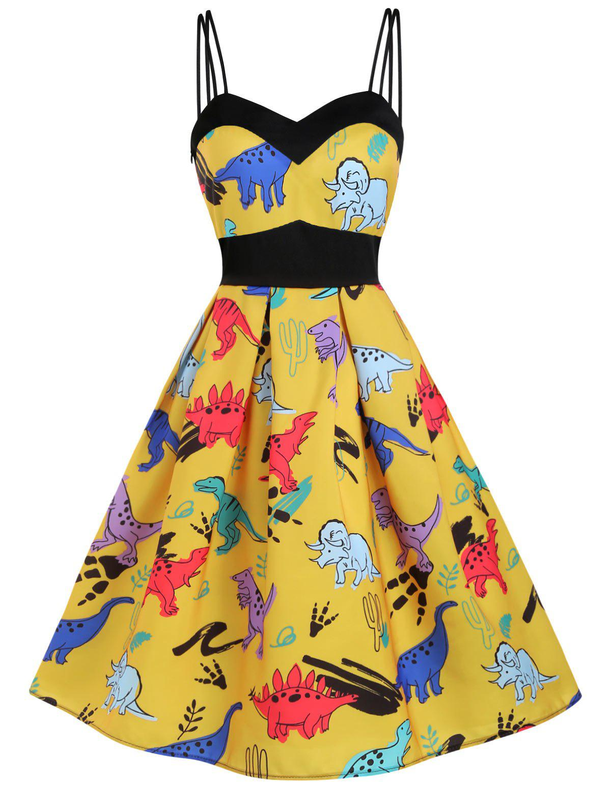Dinosaur Print Dual Strap Dress - BEE YELLOW L
