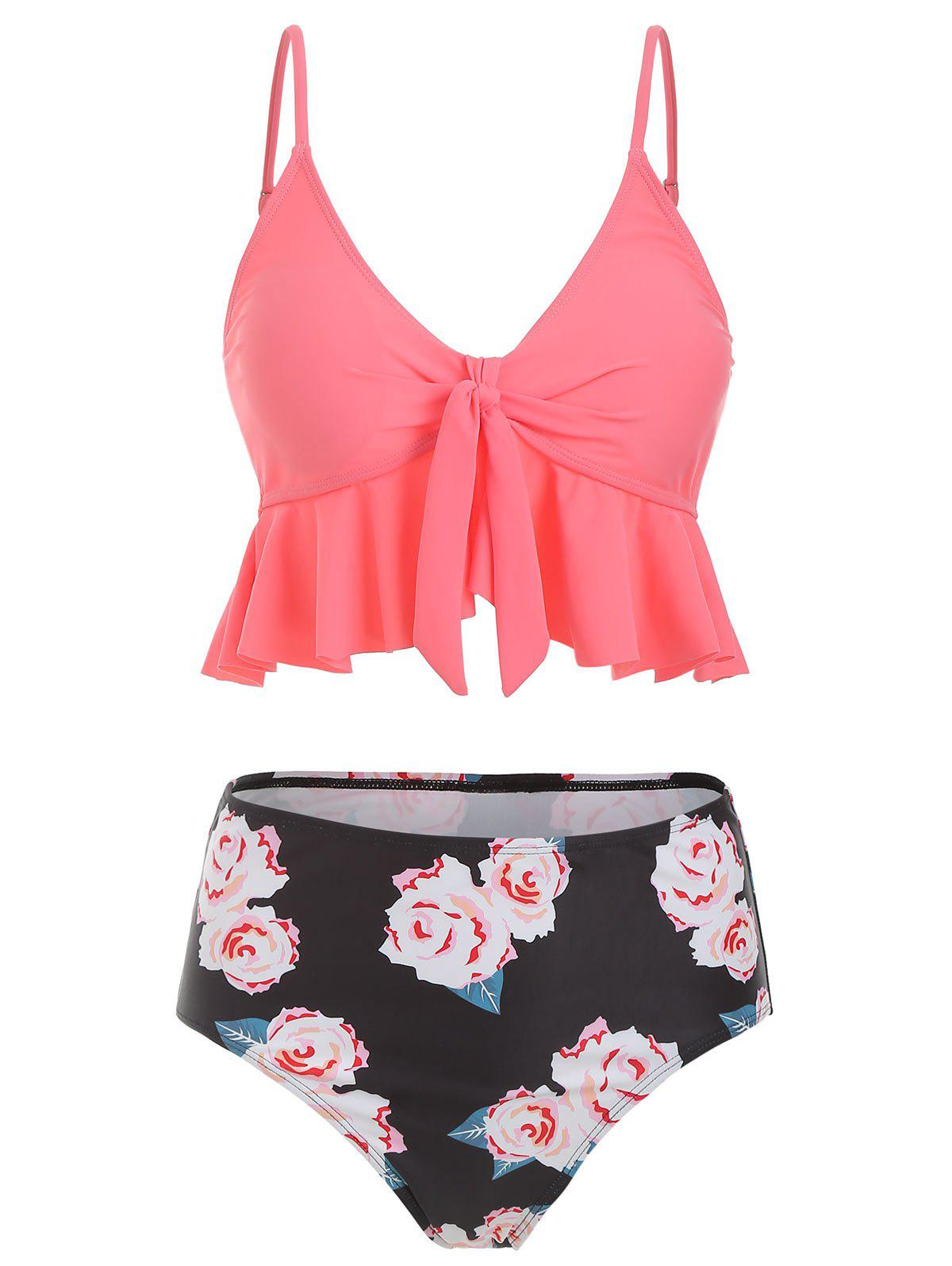 Flounce Floral High Waisted Tankini Set - multicolor L