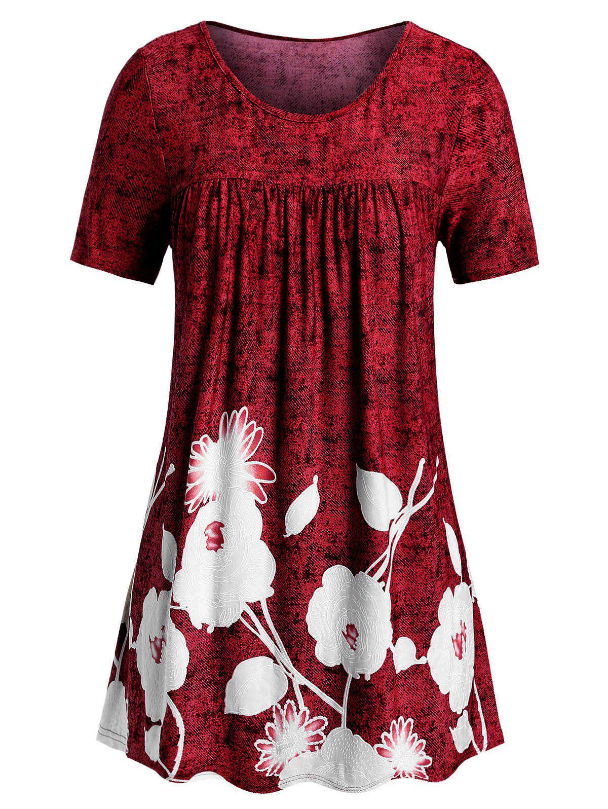 Plus Size Printed Space Dye T Shirt - RED WINE 1X