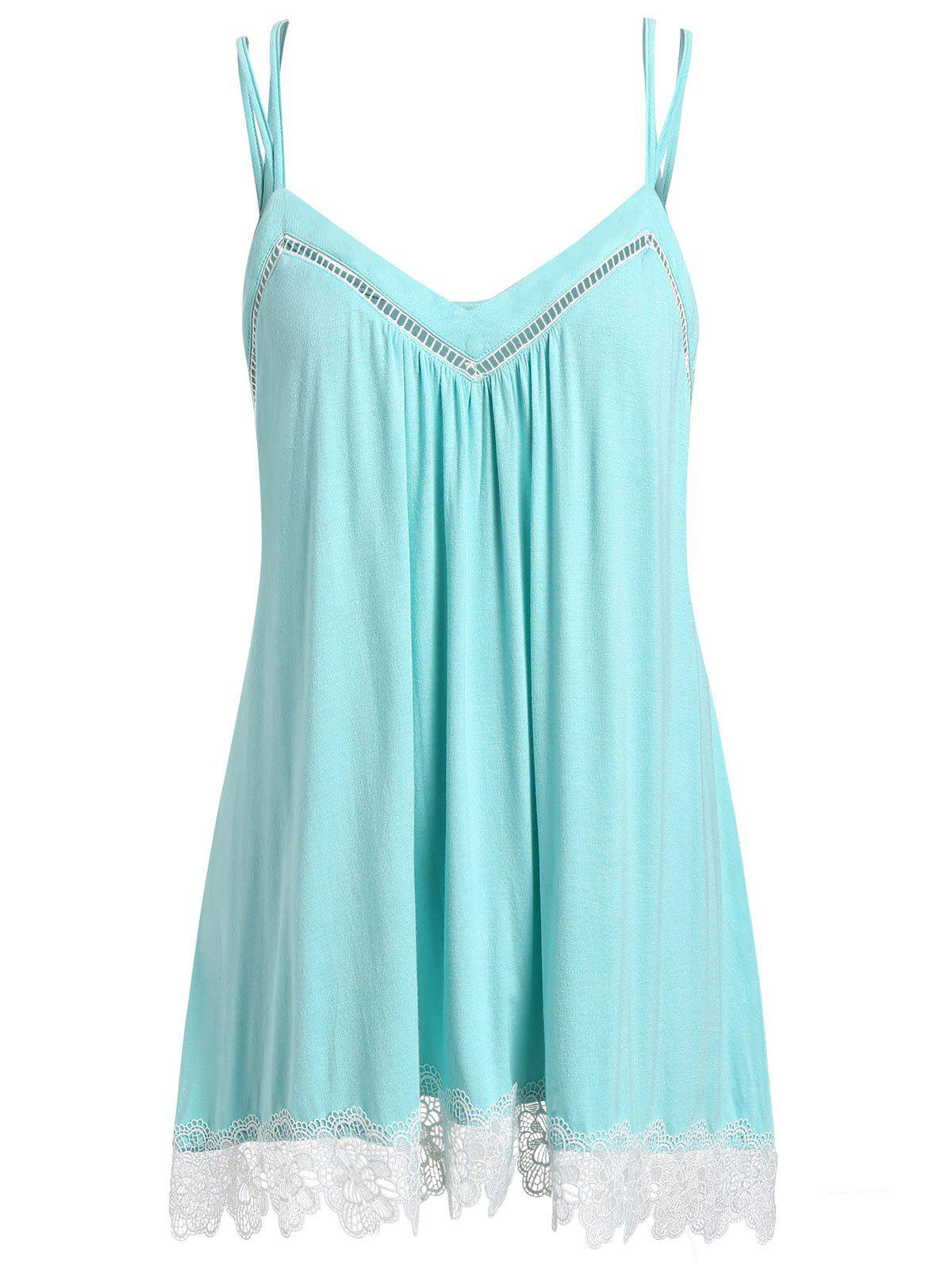 Plus Size Spaghetti Strap Lace Trim Tank Top - LIGHT SLATE 4X