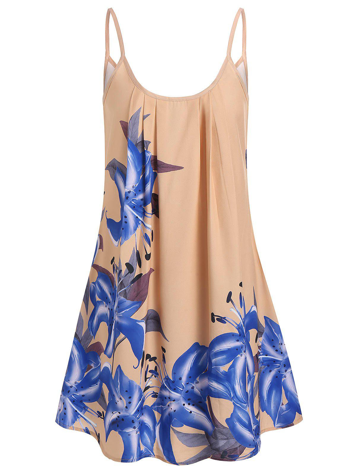 Casual Flower Mini A Line Dress - BLANCHED ALMOND 2XL