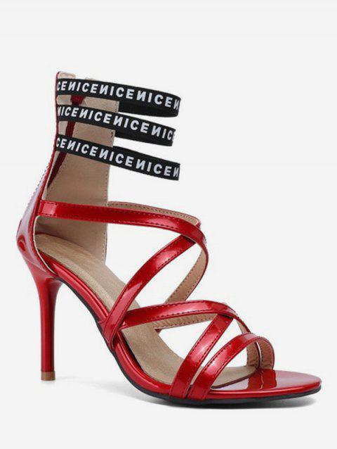 Caged Sexy Letter High Heel Sandals - LAVA RED EU 39