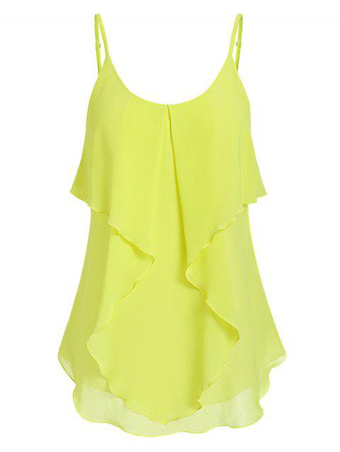 Spaghetti Strap Tiered Solid Tank Top - GREEN YELLOW M