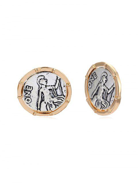 Coin Carved Round Clip On Earrings - GOLD