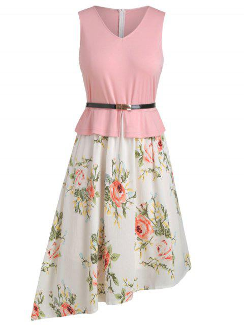 Floral Contrast Belted Asymmetrical Plus Size Dress - PINK 5X
