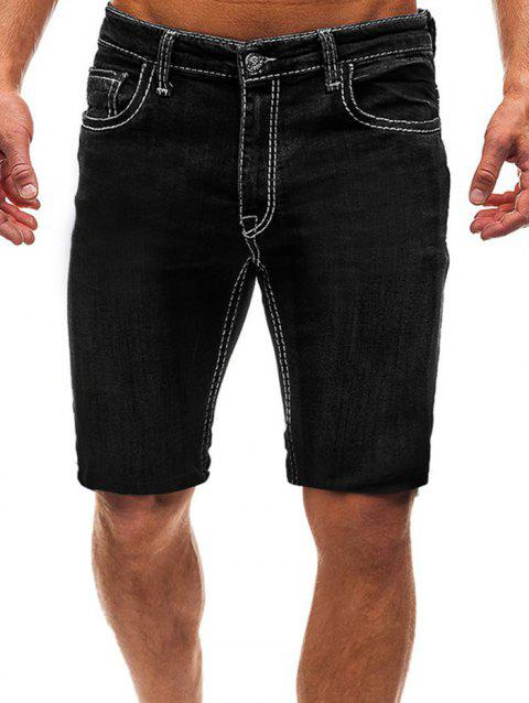 Casual Style Zipper Fly Jeans Shorts - BLACK 2XL