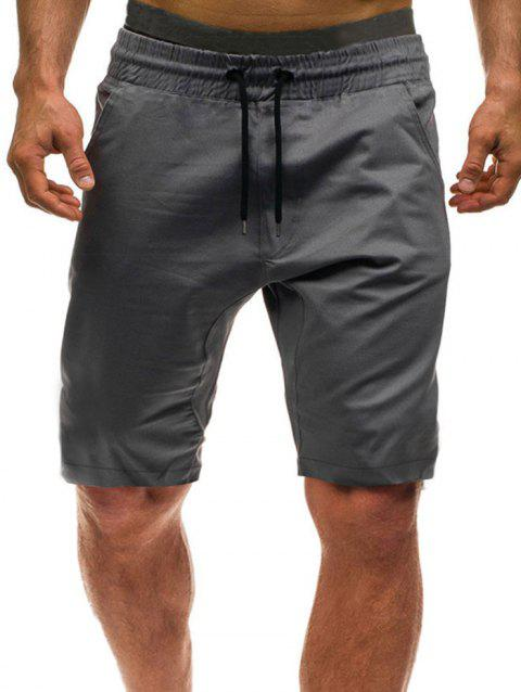Solid Color Leisure Drawstring Shorts - BATTLESHIP GRAY M