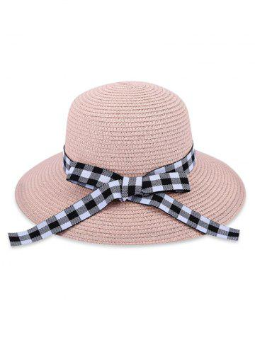 6dabe1f6ef7d9 Bowknot Checkered Straw Sun Hat