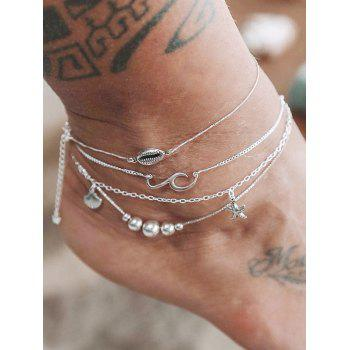 4PCS Shell Starfish Beads Anklets