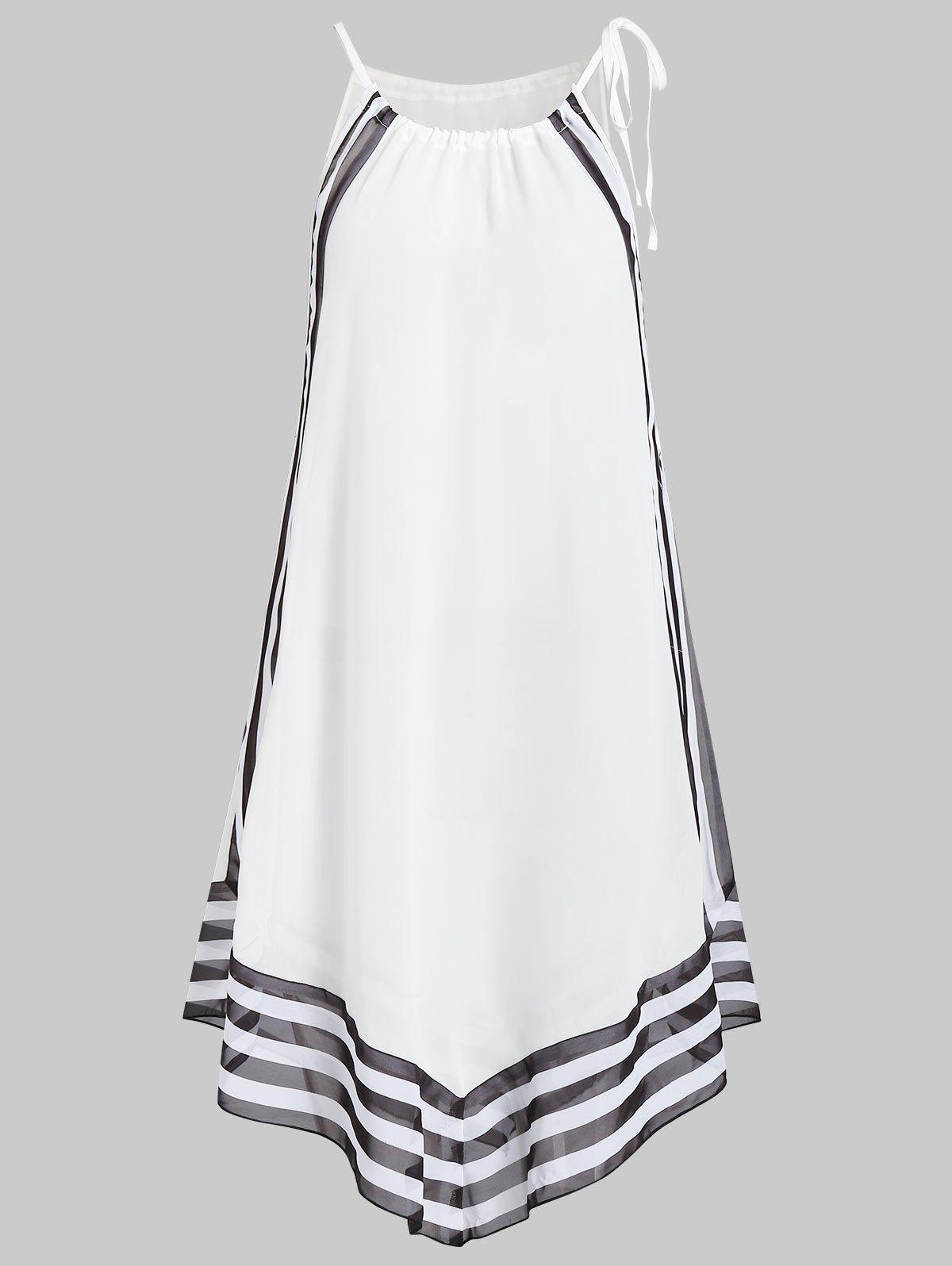 Striped Tie Asymmetrical Cover Up - WHITE M