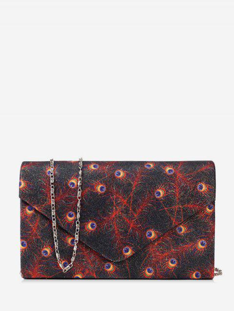 Peacock Feather Print Square Chain Shoulder Bag - BLACK