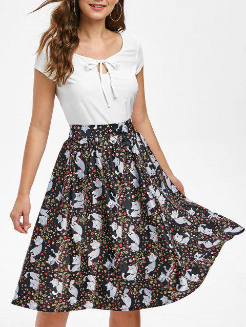 Floral Cat Print Keyhole Skirt Set - multicolor M