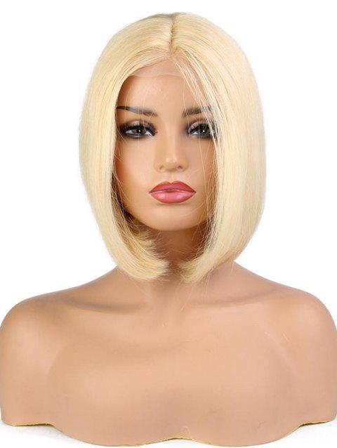 Short Straight Bob Human Hair Lace Front Wig - BLONDE 14INCH