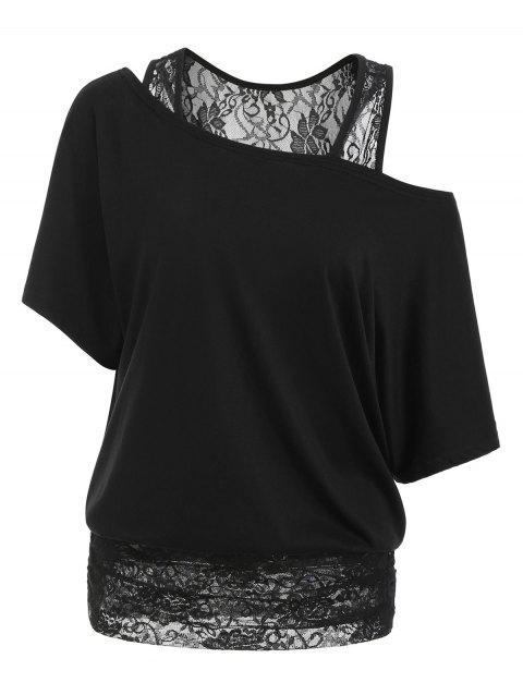Scoop Neck Half Sleeves Lace Panel Tee - BLACK 2XL