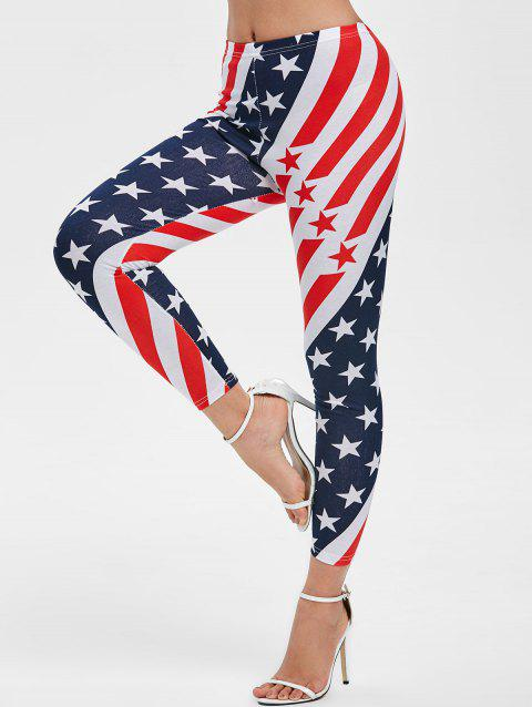 Flag Print Mid Rise Skinny Leggings - multicolor A ONE SIZE