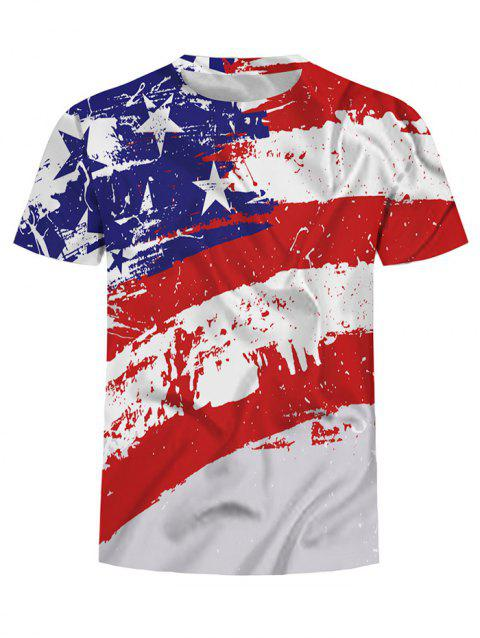 American Flag Print Crew Neck T Shirt - multicolor 2XL