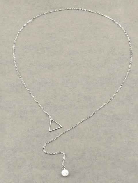 Faux Pearl Triangle Lariat Necklace - SILVER