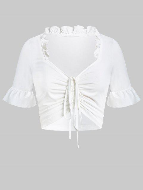 Plus Size Ruched Solid Crop T Shirt - WHITE 5X