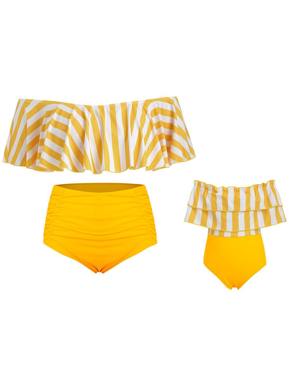 Plus Size Off Shoulder Ruffled Striped Family Swimsuit - BRIGHT YELLOW MOM 5X