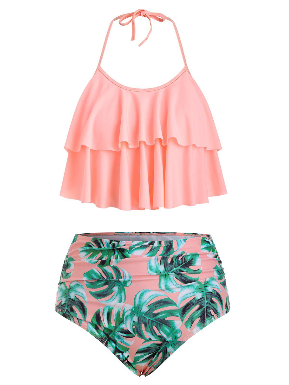 Plus Size Halter Ruffled Palm Print Tankini Set - PINK 4X