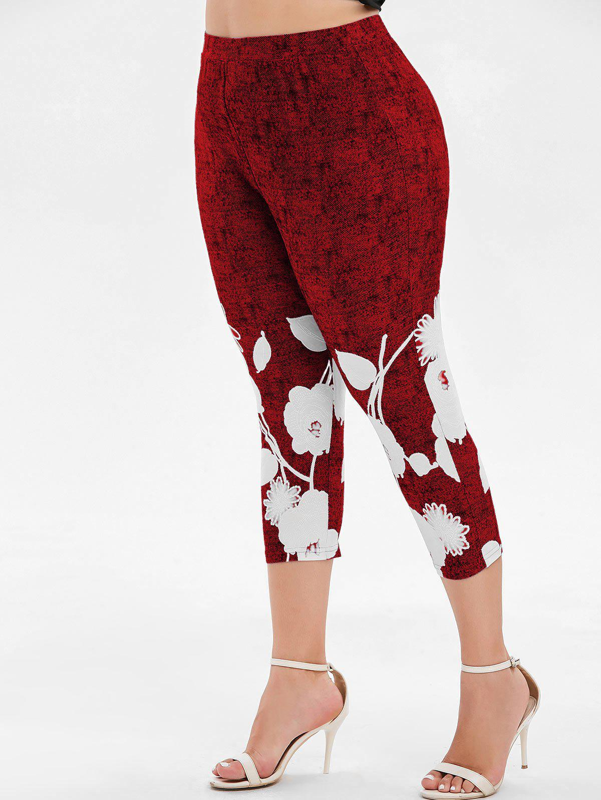 Plus Size High Waist Printed Capri Leggings - RED WINE 3X