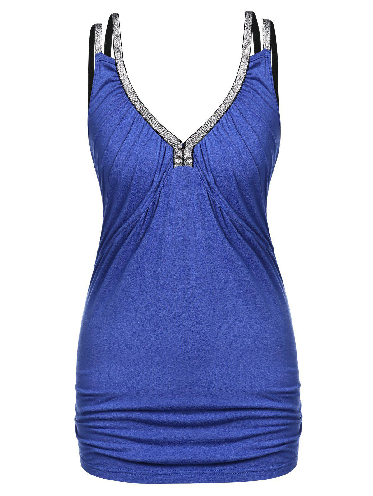 Plus Size Sequined Plunge Ruched Tank Top - COBALT BLUE 3X
