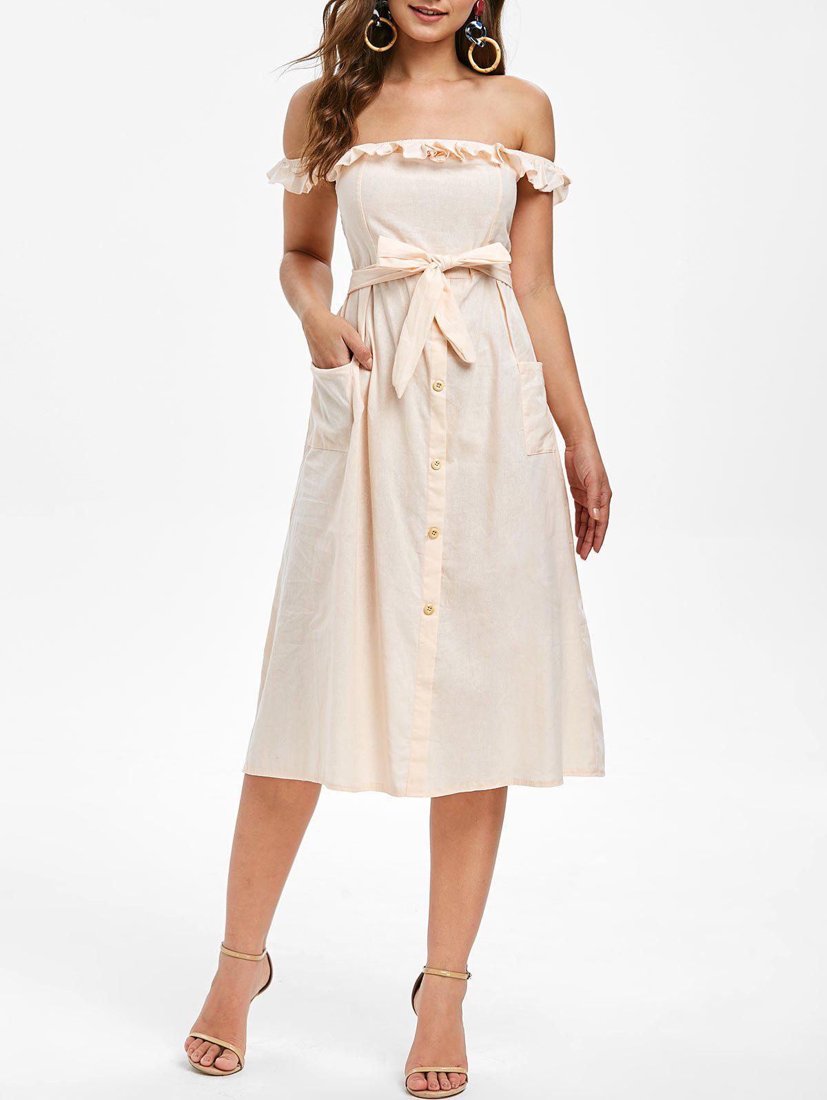 Ruffled Off Shoulder Belted A Line Dress - APRICOT XL