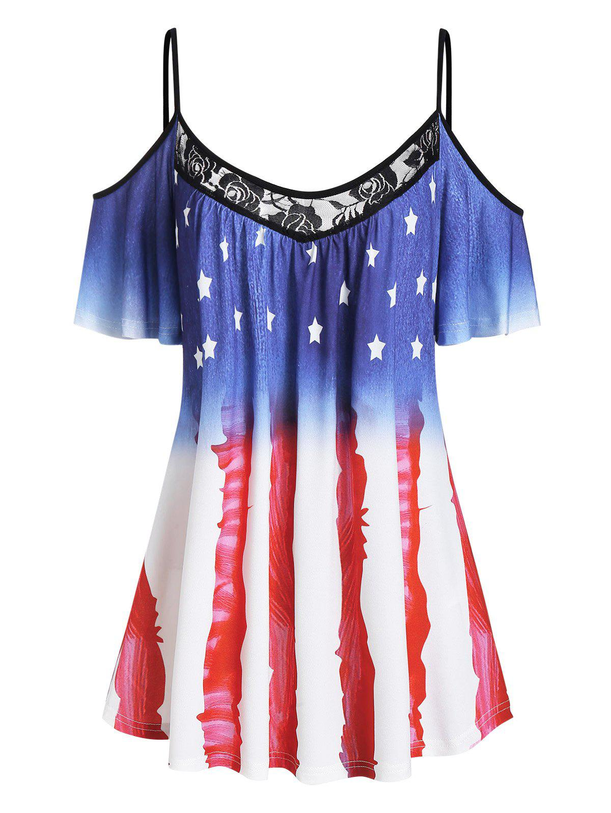 Cold Shoulder American Flag Lace Insert Tee - BLUE M
