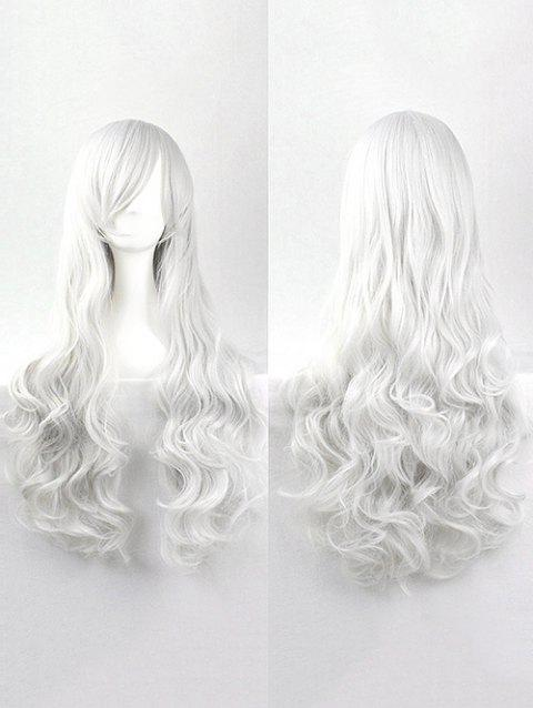 Side Bang Body Wave Long Cosplay Synthetic Wig - WHITE