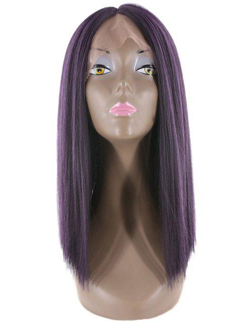 Medium Straight Lace Front Synthetic Wig - PLUM PURPLE 14INCH