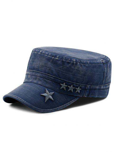 Star Embroidery Denim Military Hat - BLUE