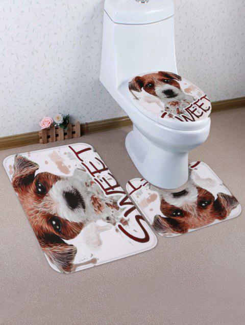 Ensemble de tapis de toilette SWEET Dog Pattern 3 Pcs - Châtaigne