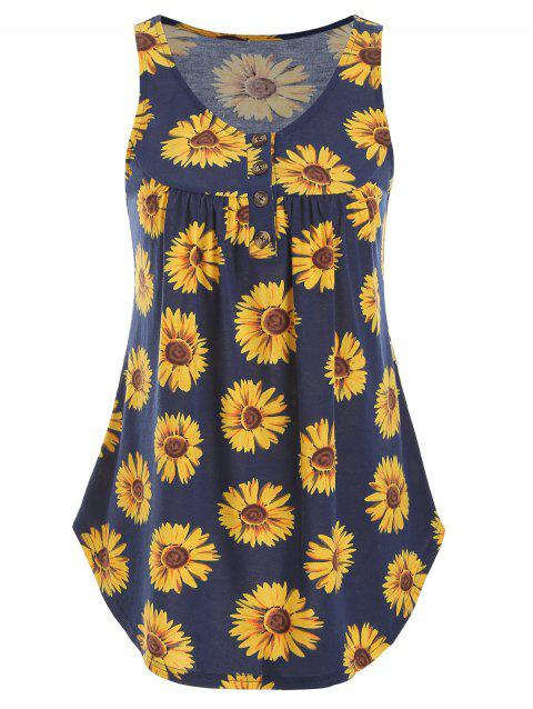 Sunflower Print Henley Tank Top - MIDNIGHT BLUE L