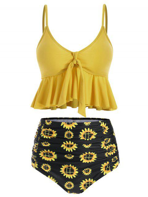 Ruffles Floral Print Knotted Tankini Set - SUN YELLOW M