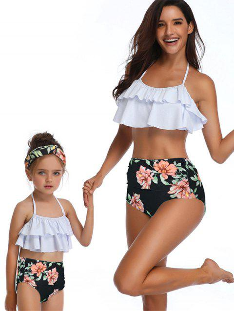 Floral Print Tiered Knotted Back Family Swimsuit - WHITE MOM M