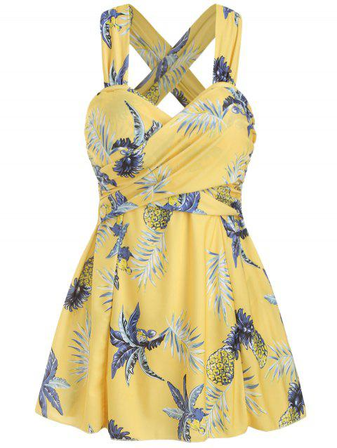 One-Piece Pineapple Cross Skirted Swimsuit - YELLOW 2XL