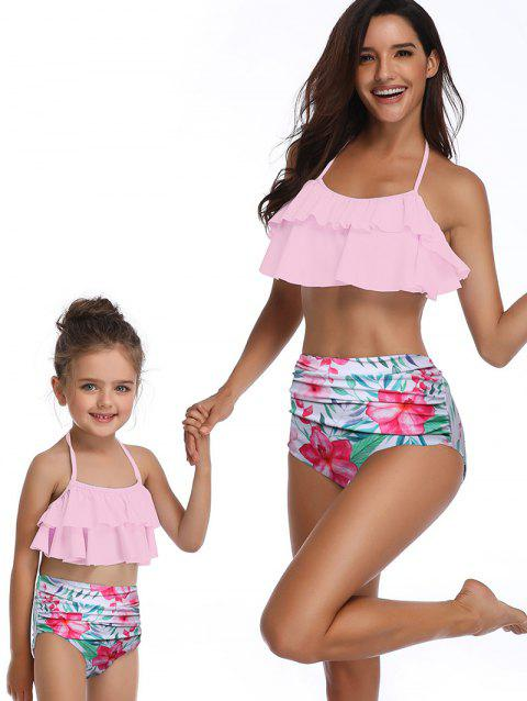 Floral Print Tiered Knotted Back Family Swimsuit - PINK KID 2T