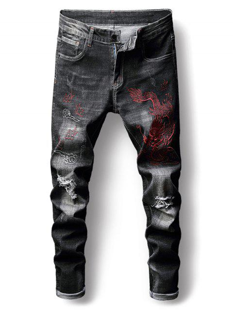 Embroidery Decoration Destroy Casual Jeans - CARBON GRAY 34
