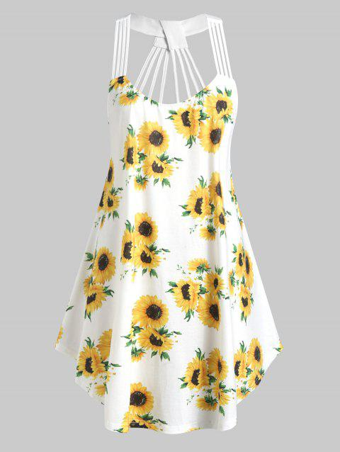 Plus Size Sunflower Print Strappy Swing Tank Top - WHITE 4X