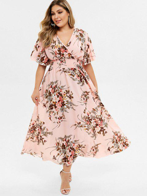 Plus Size Floral Print Bohemian Maxi Dress