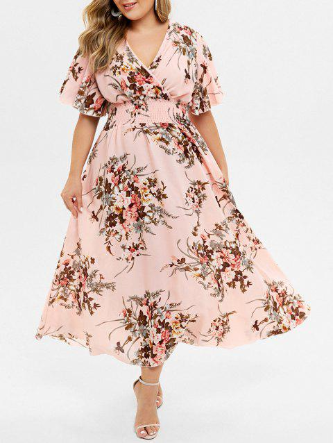 Plus Size Floral Print Bohemian Maxi Dress - PINK 2X