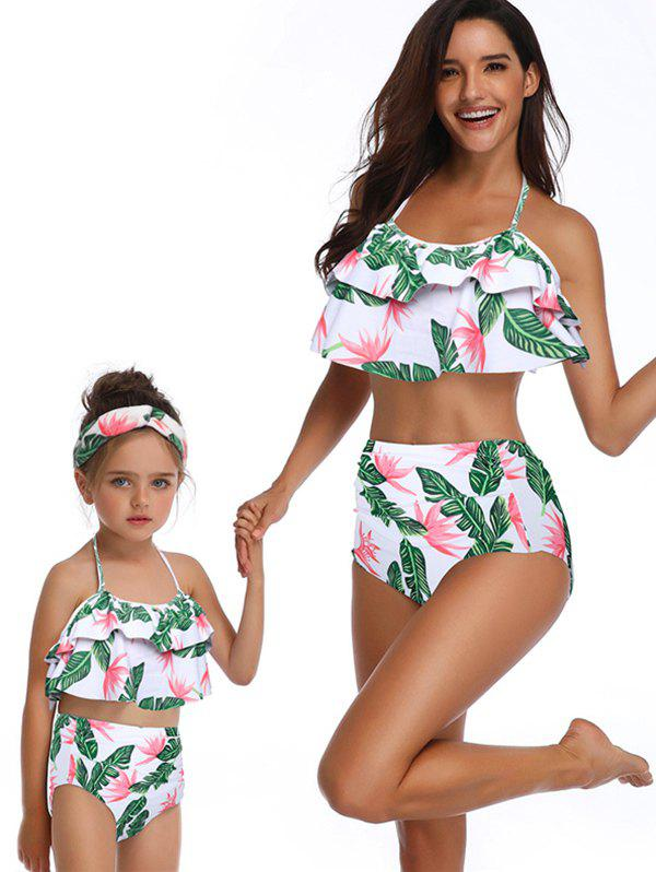 Floral Print Tiered Knotted Back Family Swimsuit - GREEN MOM M
